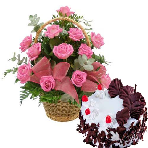 Send Happiness By Sending Online Flowers Cakes To India - Birthday cake n flowers